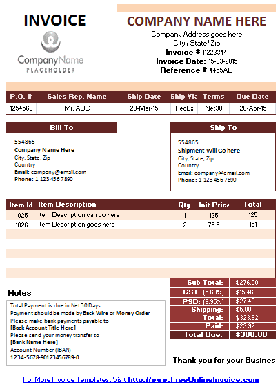 Free Printable Invoice