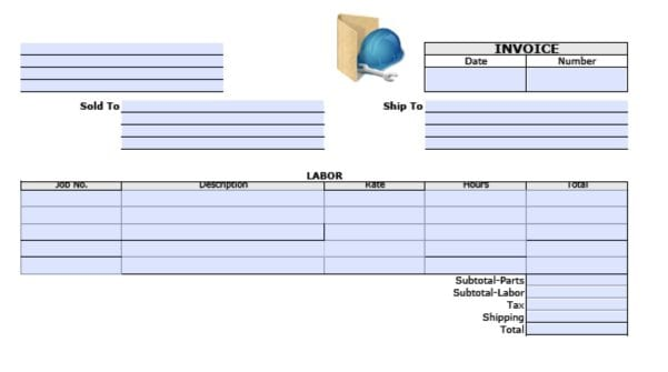 General Labor Invoice General Labor Invoice Spreadsheet Templates for Busines Labor Invoice Template Excel