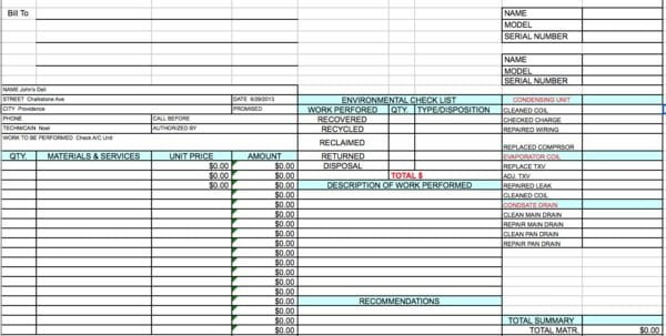 HVAC Invoices And Maintenance Sheets