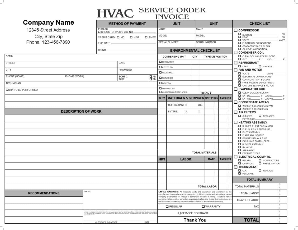 HVAC Service Order Invoice Templat