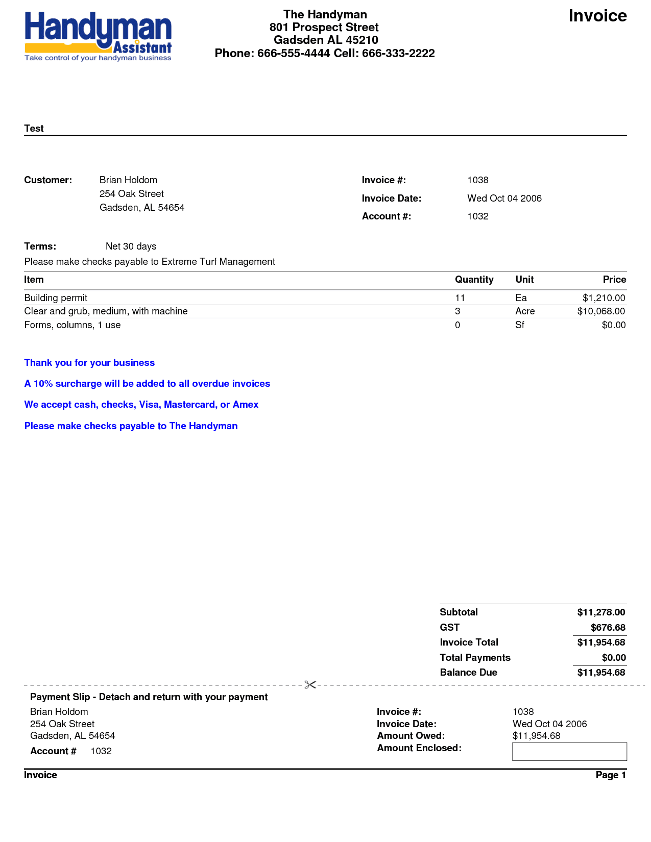 Handyman Invoice