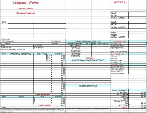Labor Invoice Free Excel Template General Labor Invoice Spreadsheet Templates for Busines