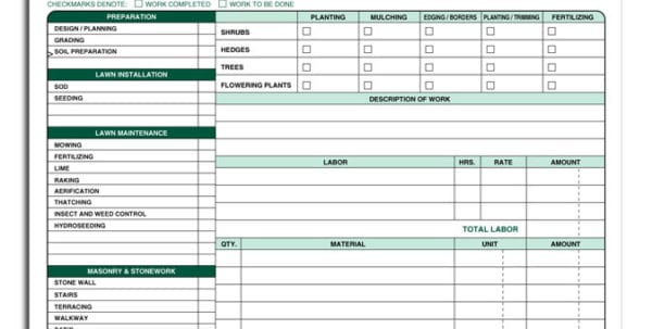 Landscaping Invoice Template Lawn Care Invoice Template Spreadsheet Templates for Business