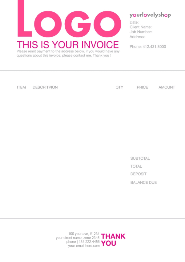 Makeup Artist Invoice