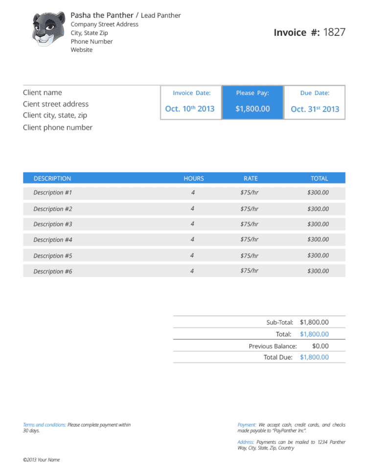 Pay Invoice Template