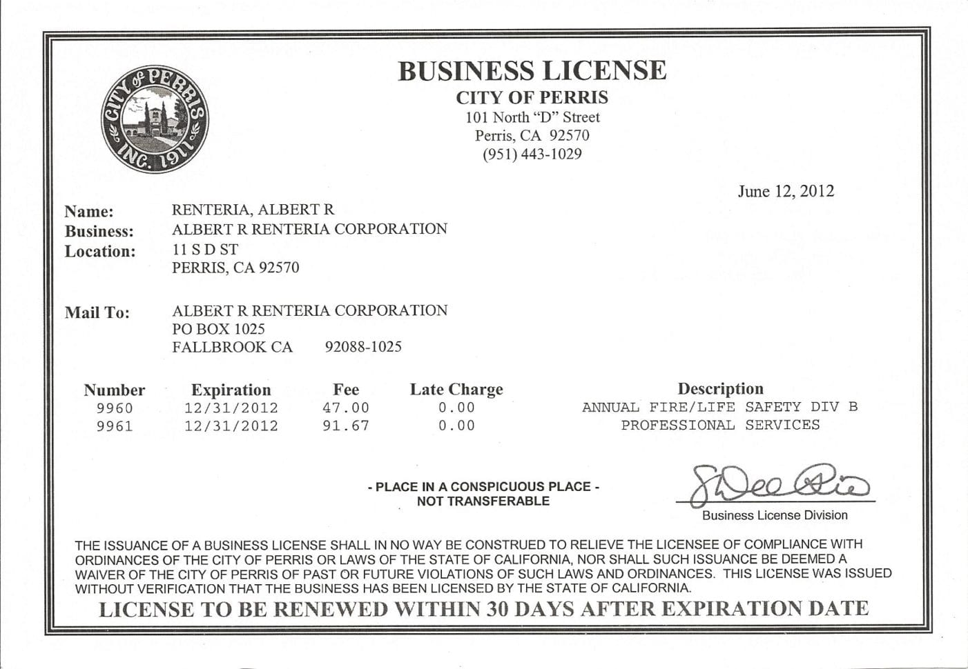 Personal Business License
