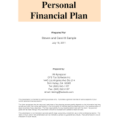 Personal Financial Plan Template