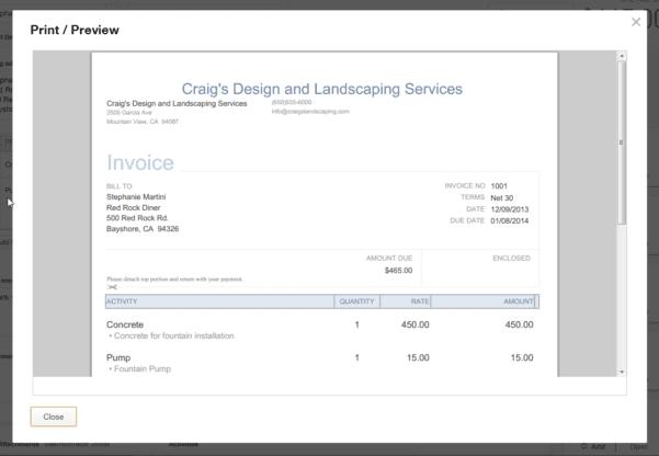 QuickBooks Edit Invoice Template