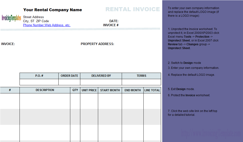 Rent Receipt Form Rental Invoice Template Spreadsheet Templates for Busines Spreadsheet Templates for Busines Rental Invoice To Tenant