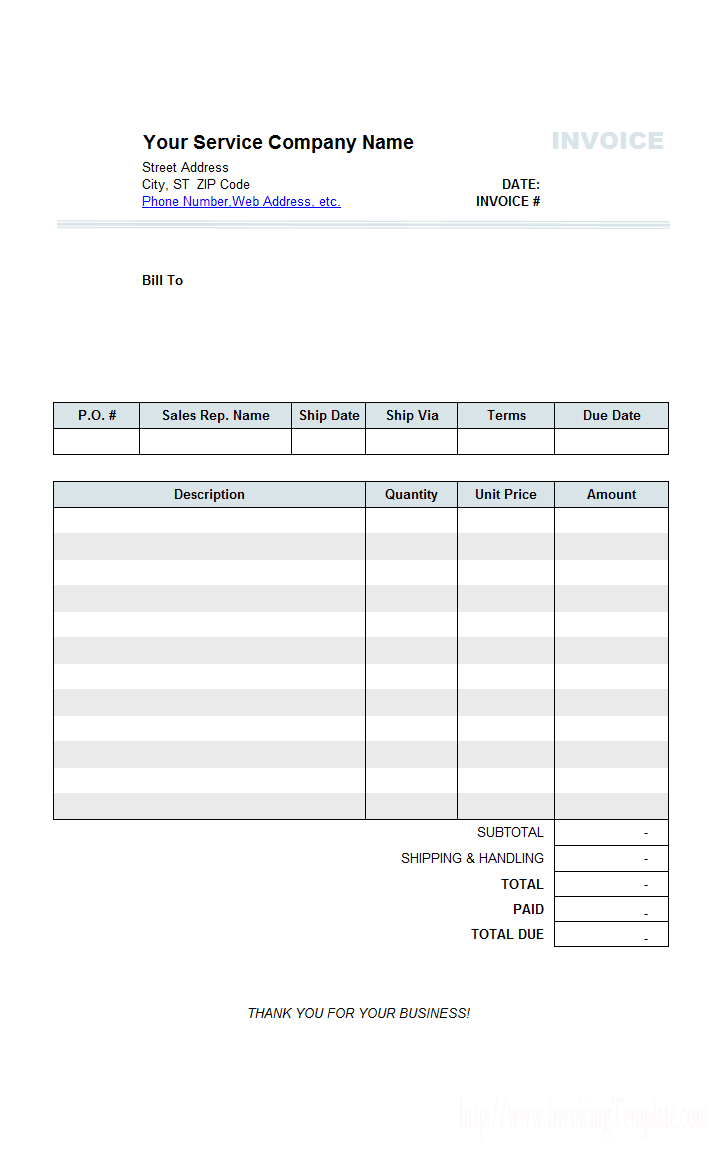 Rental Invoice To Tenant