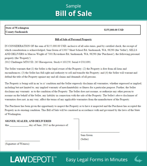 Sale Of A Business Form