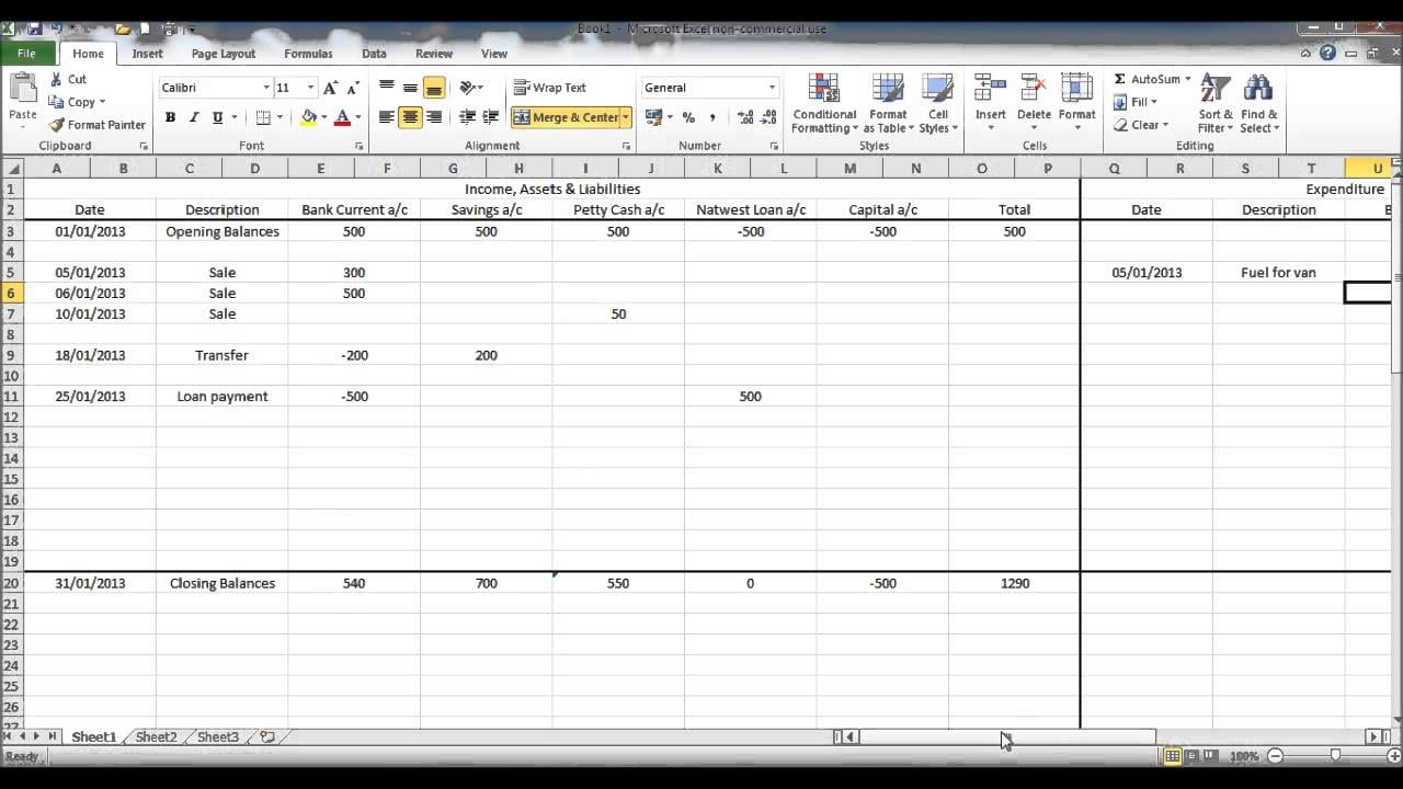 Simple Bookkeeping Examples