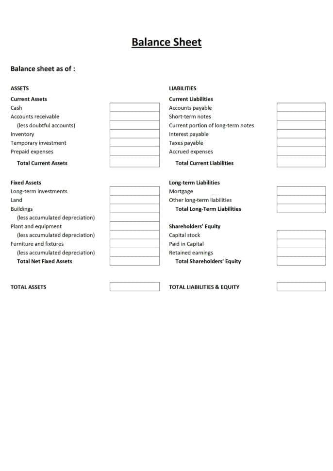 Accounting Balance Sheet Template