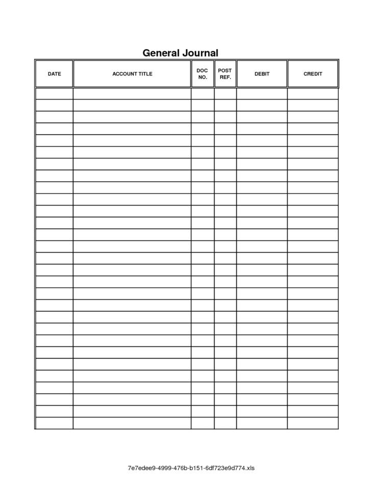 Accounting Journal Template Printable