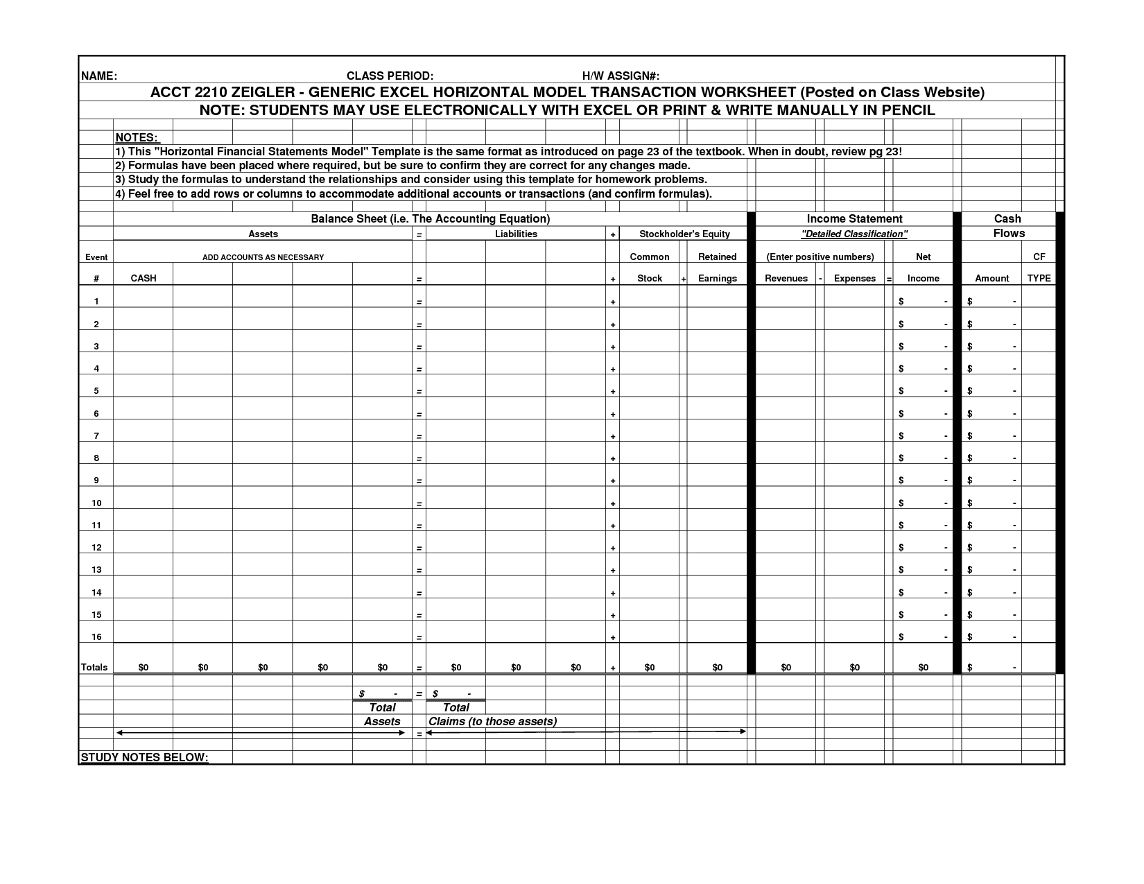 Accounting Spreadsheet Template 1