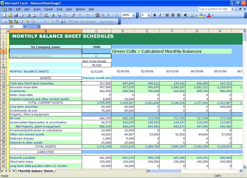 Balance Sheet Template Excel Mac