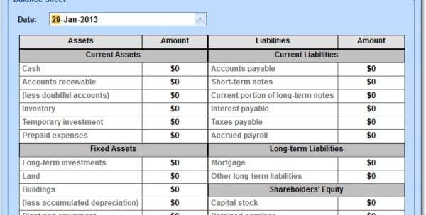 Balance Sheet Template Excel Software