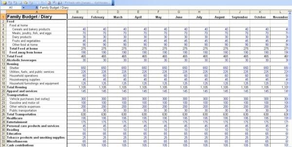 Bank Of America Budget Sheet