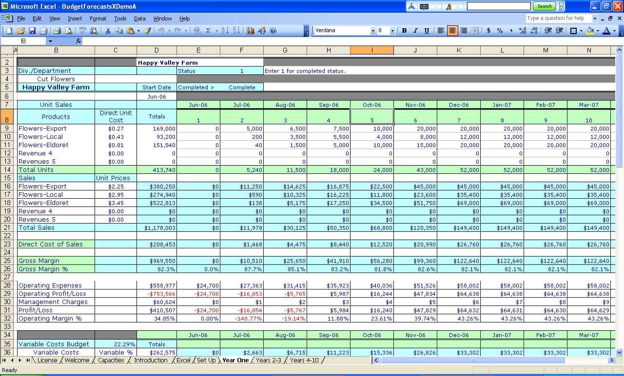 Basic Budget Spreadsheet