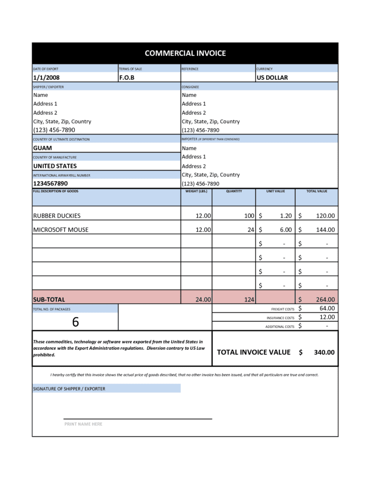 Basic Invoice Template Excel