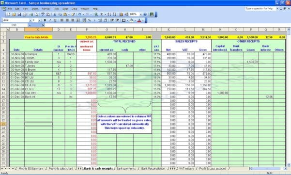 Bookkeeping Excel Template Free
