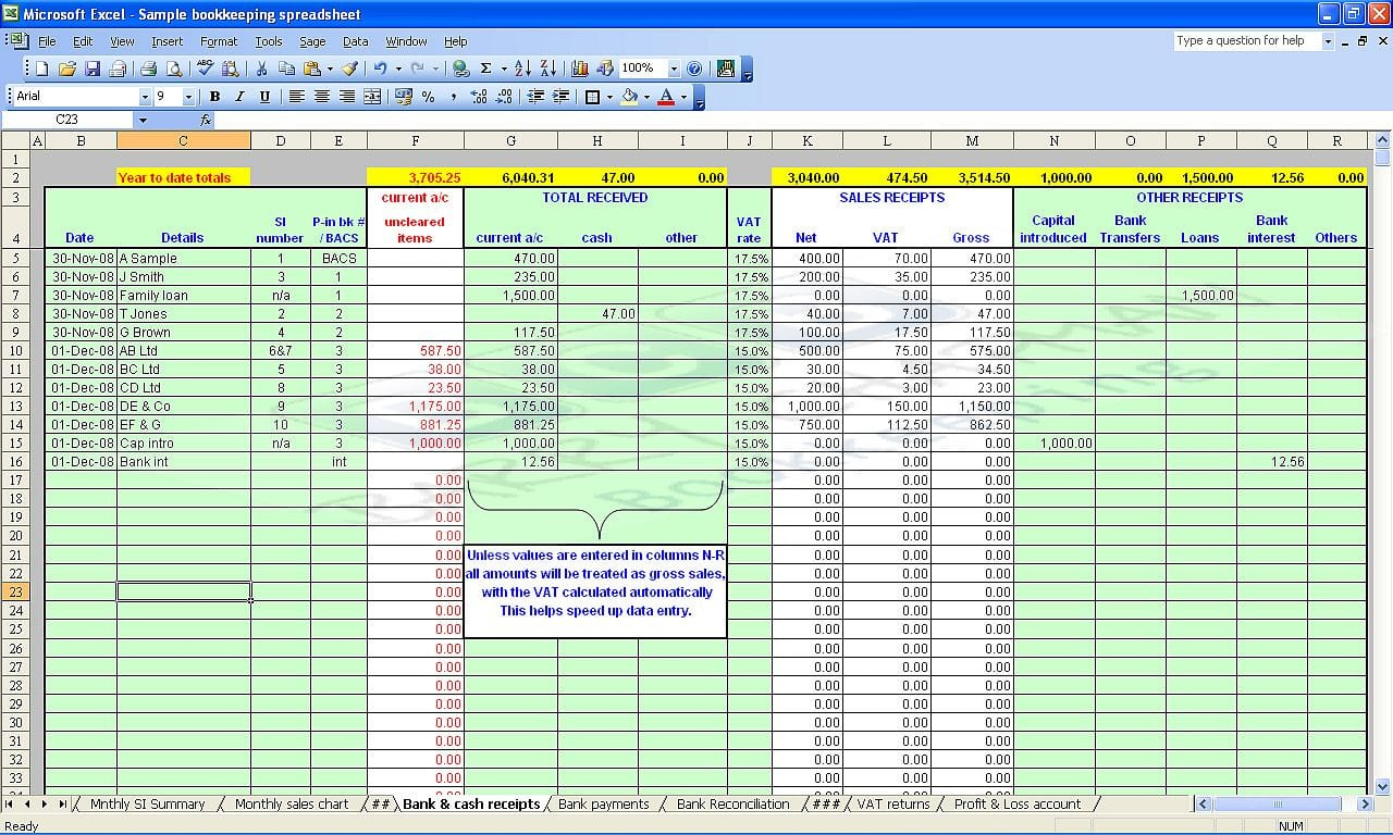 Bookkeeping Spreadsheet Using Microsoft Excel