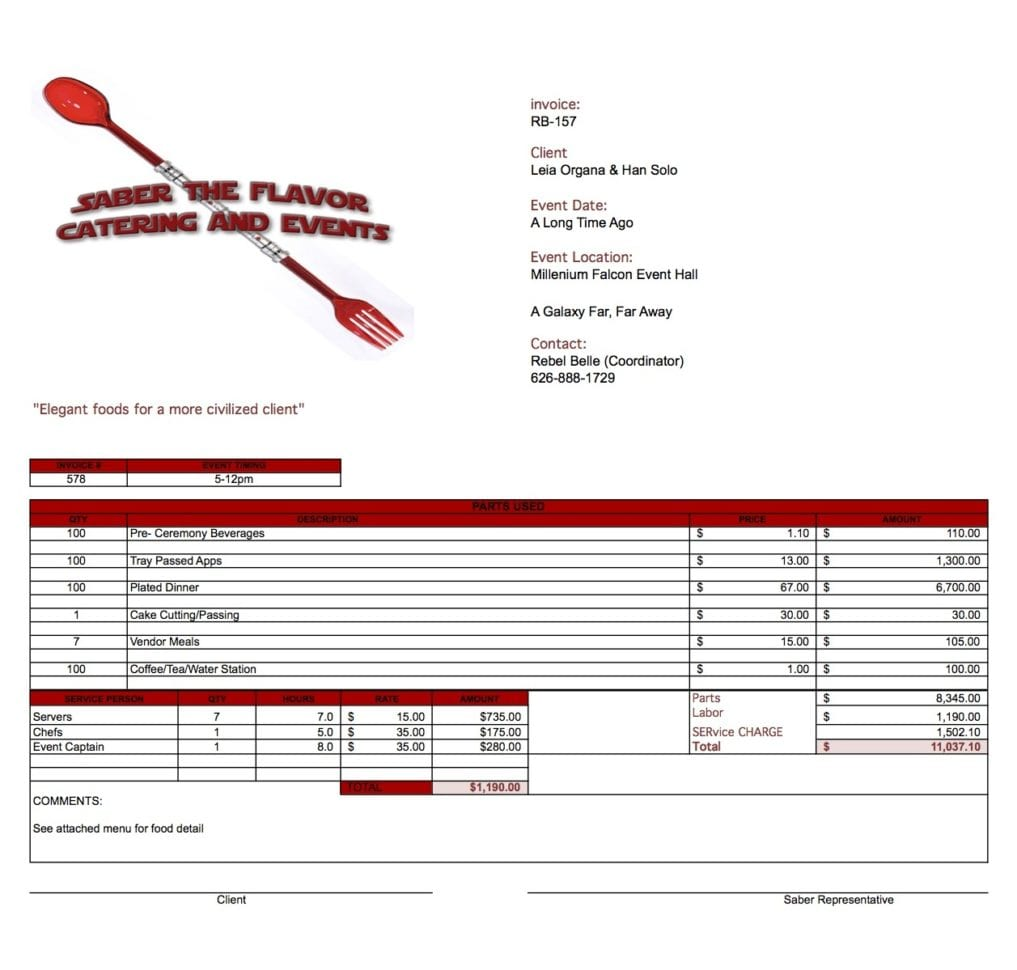 Catering Invoice Template Word