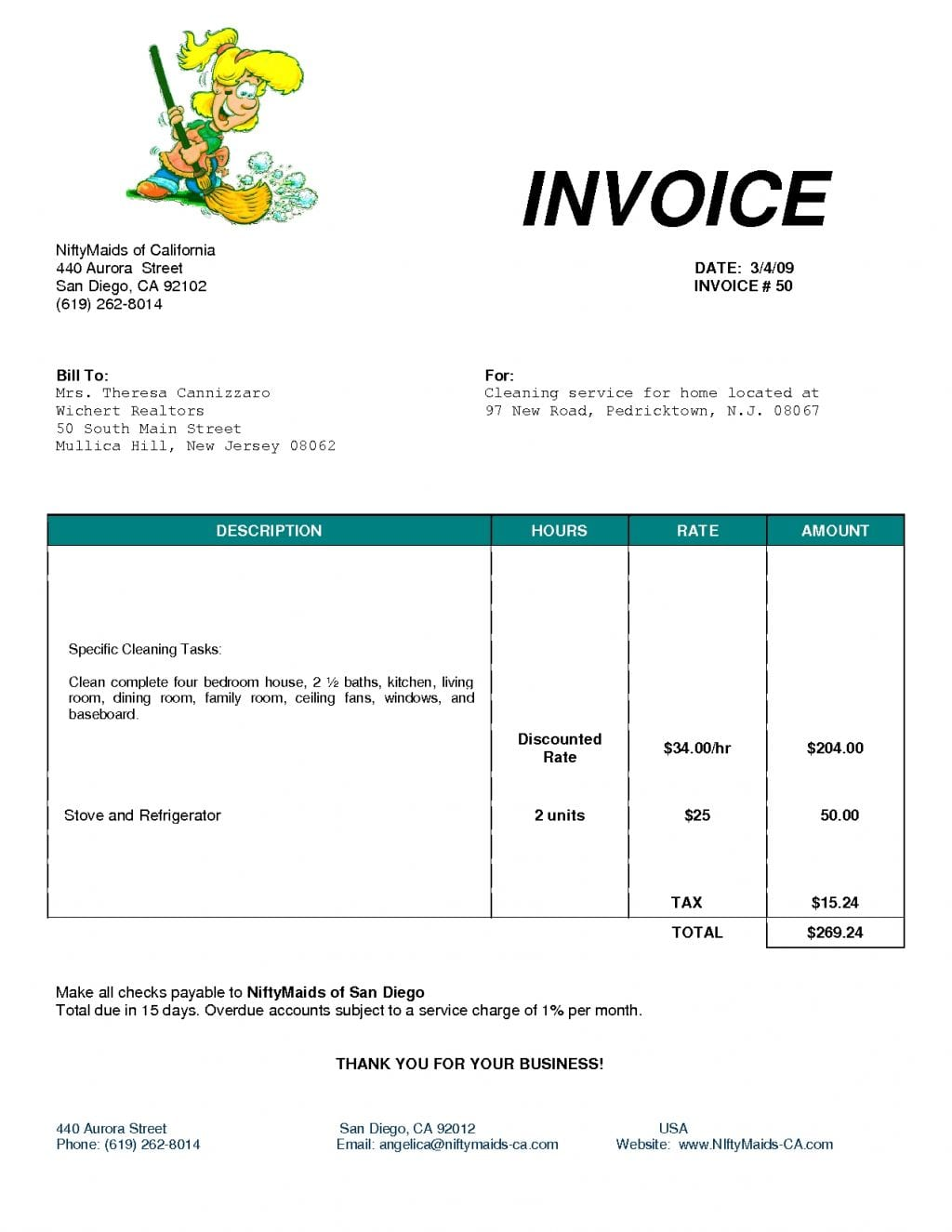 Cleaning Invoice Template Excel