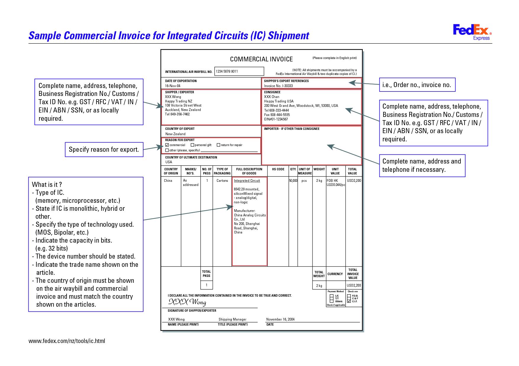 Commercial Invoice Fedex