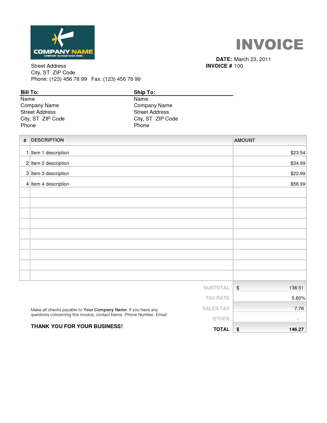 Commercial Invoice Template Excel Free Download