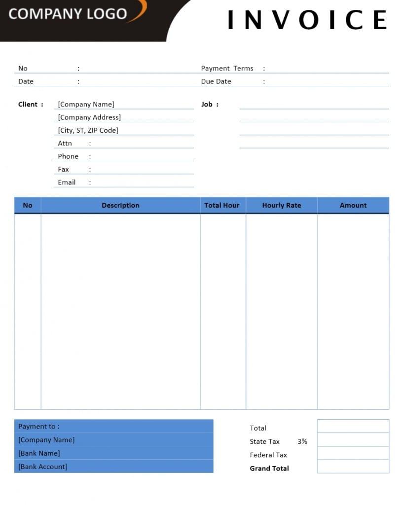 Consultant Invoice Template Word Doc