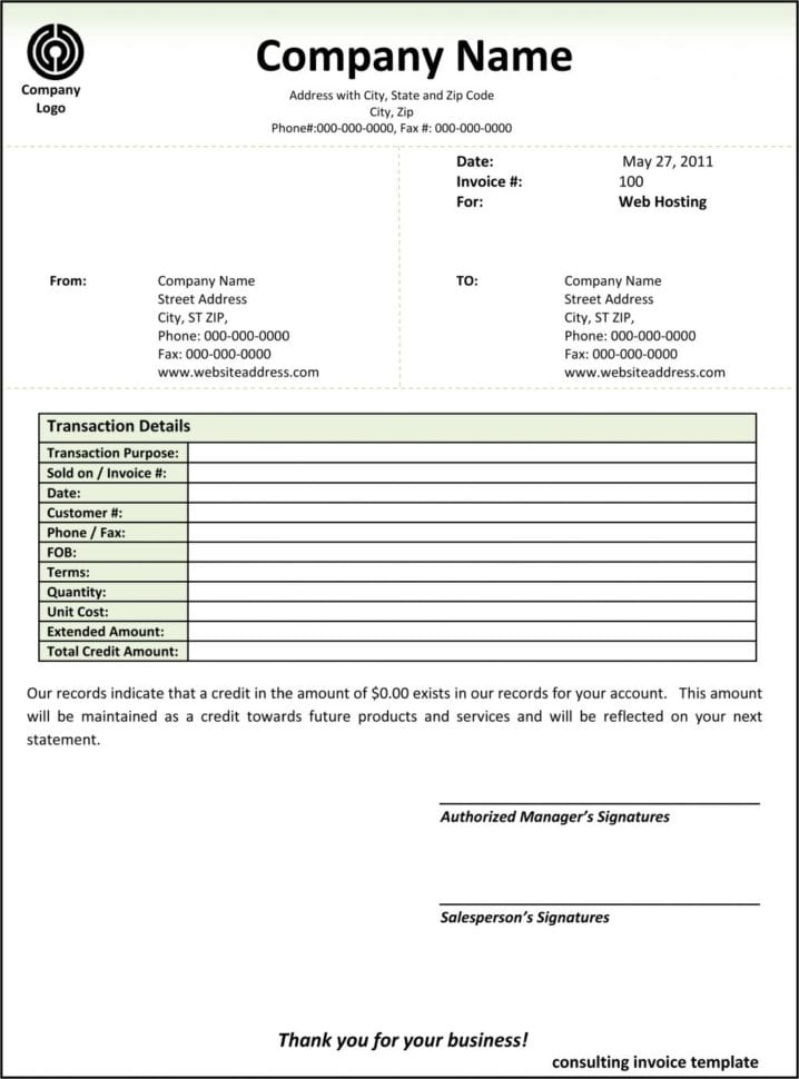 Consulting Services Invoice