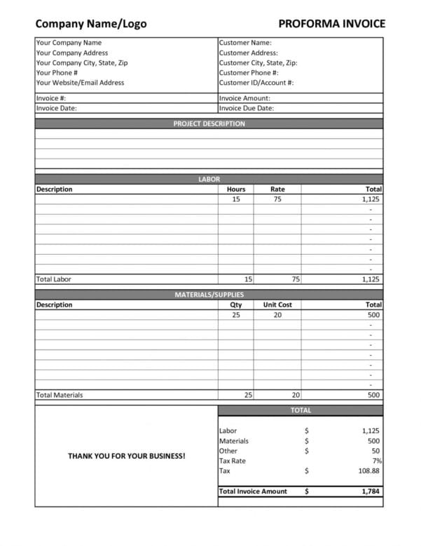 Contract Labor Invoice Template