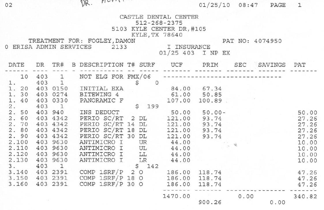 Dental Bill Receipt Format