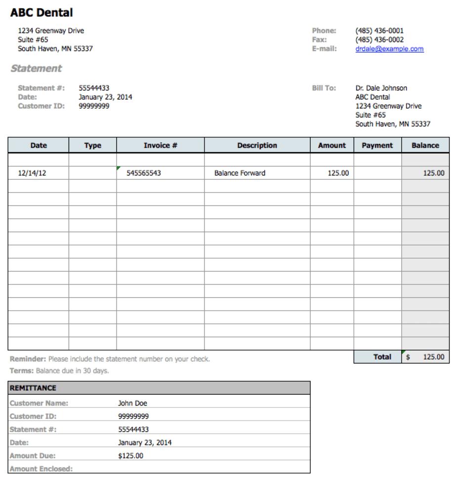 Dental Invoice Sample