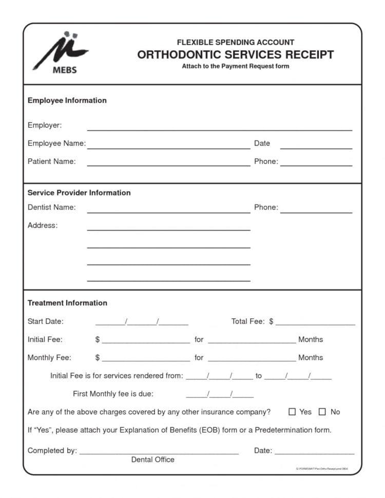 Dentist Receipt Format Sample