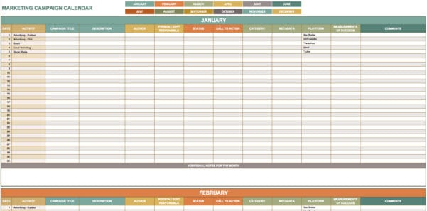 Digital Marketing Plan Template Excel