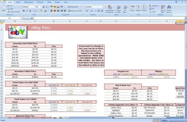 Ebay Inventory Spreadsheet Examples