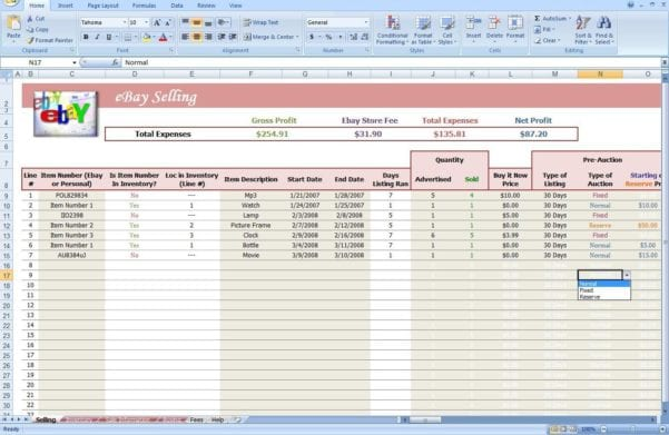Ebay Profit And Loss Spreadsheet