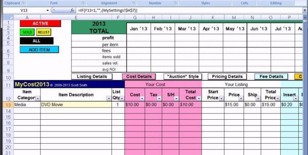 Free Excel Spreadsheet For Ebay Free Spreadsheet For Ebay Sales Ebay Inventory Excel Template Free Ebay Sales Tracking Spreadsheet Ebay Inventory Spreadsheet Examples Free Ebay Accounting Spreadsheet Ebay Profit And Loss Spreadsheet