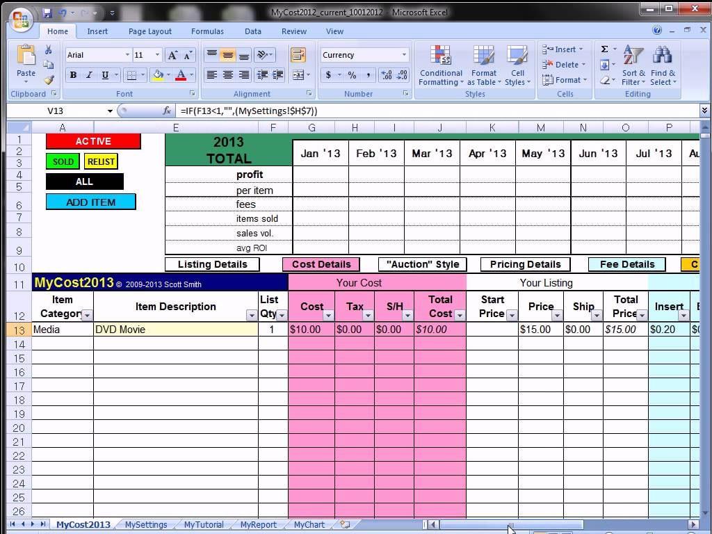 Ebay Profit Track Sales Excel Spreadsheet Ebay Spreadsheet Template Spreadsheet Templates for Busines Spreadsheet Templates for Busines Ebay Profit And Loss Spreadsheet