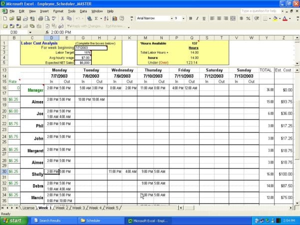 Excel Employee Schedule Template