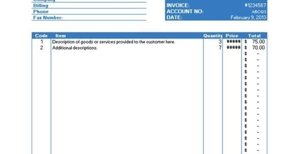 Excel Invoice Template 2003 Invoice Excel Template Spreadsheet Templates for Business