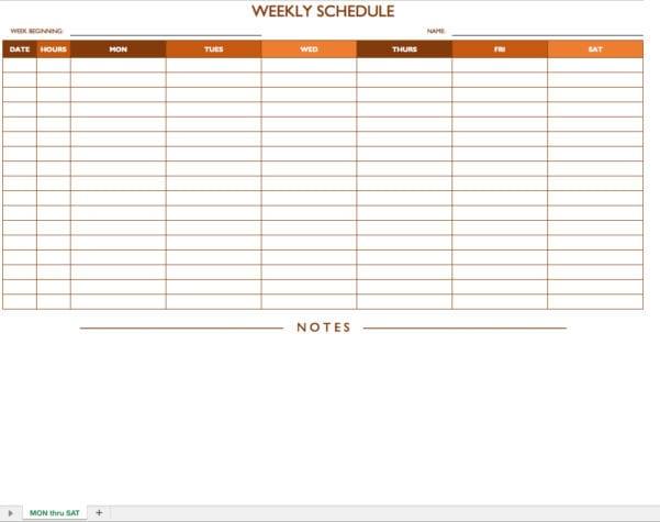 Excel Schedule Template