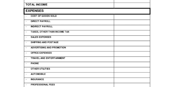 Expense Reports Free Templates 1 P&L Spreadsheet Template Spreadsheet Templates for Business