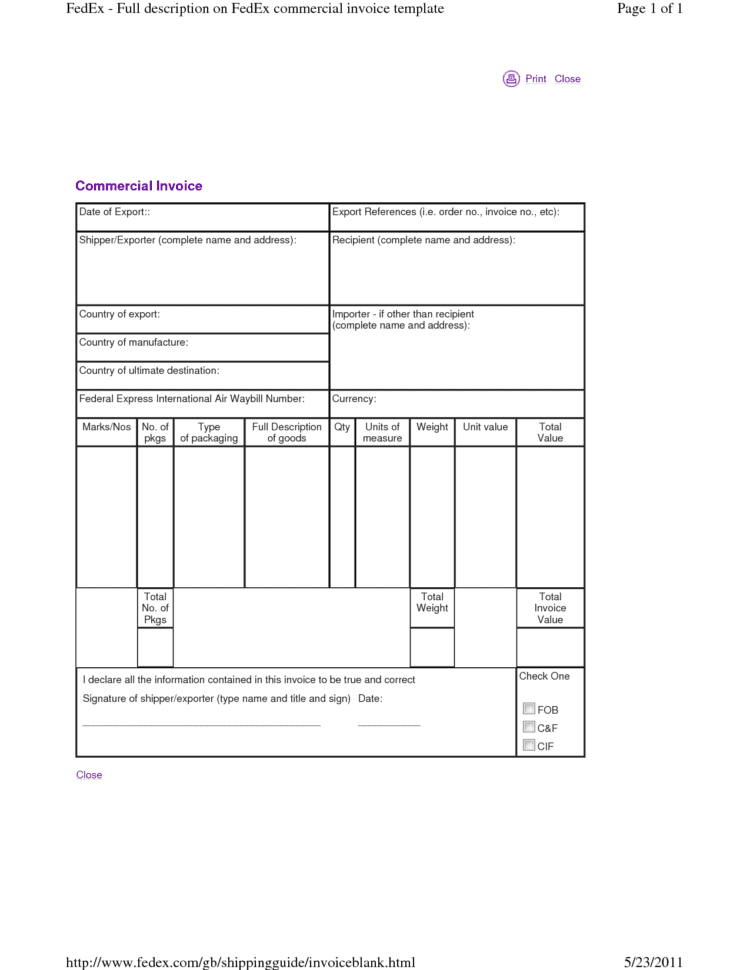 Fedex Customs Invoice