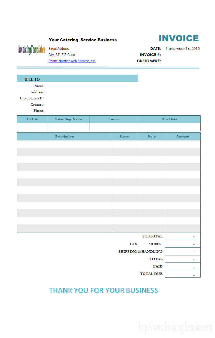 Free Catering Invoice Template Word