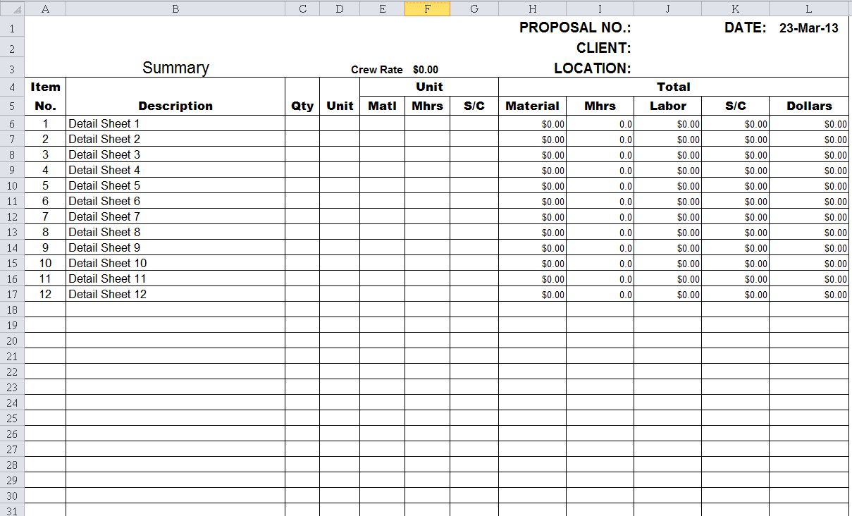 Free Estimating Spreadsheet Templates Estimating Spreadsheet Template Spreadsheet Templates for Busines Spreadsheet Templates for Busines Project Cost Estimate Excel Template