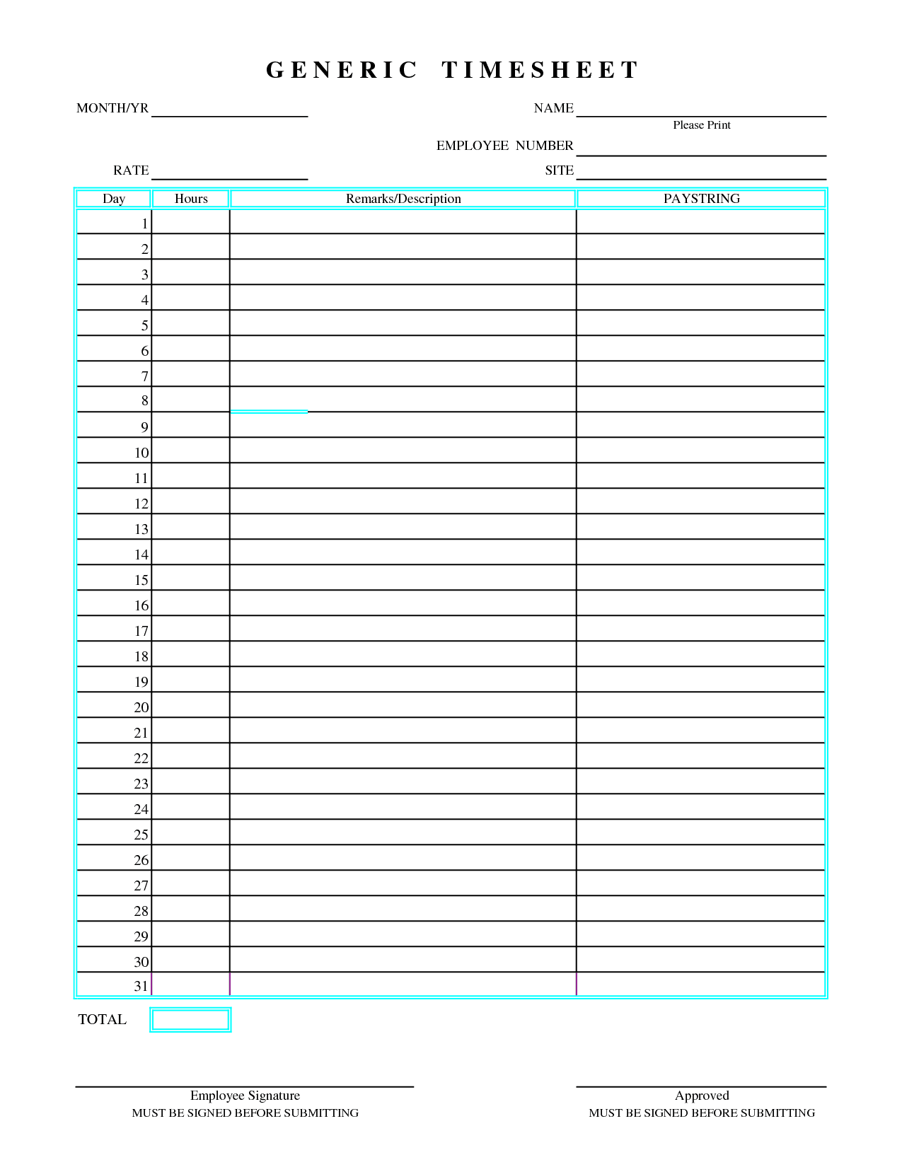 Free Excel Timesheet Template Multiple Employees