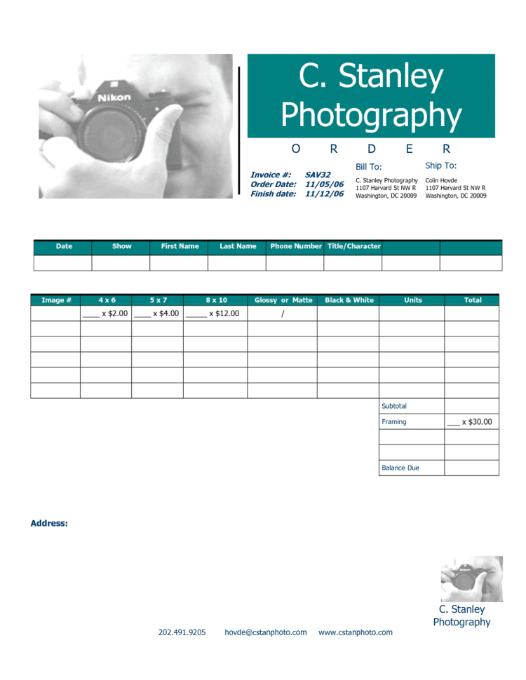 Free Photography Invoice Template 1